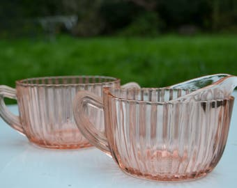"""Vintage Queen Mary """"Vertical Ribbed"""" Cream & Sugar, Anchor Hocking Glass Company"""