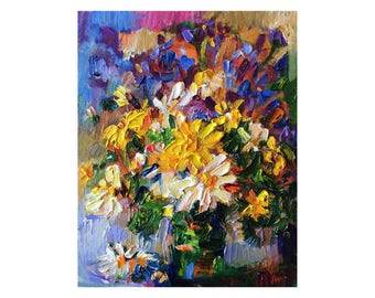 Spring Wildflowers, Original Floral Oil Painting, Abstract Bunch Wild Flower Bright Still Life Impasto Yellow White Colourful Vibrant Canvas