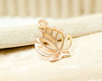 1x Lotus Pendant rose gold plated 19 mm #4716
