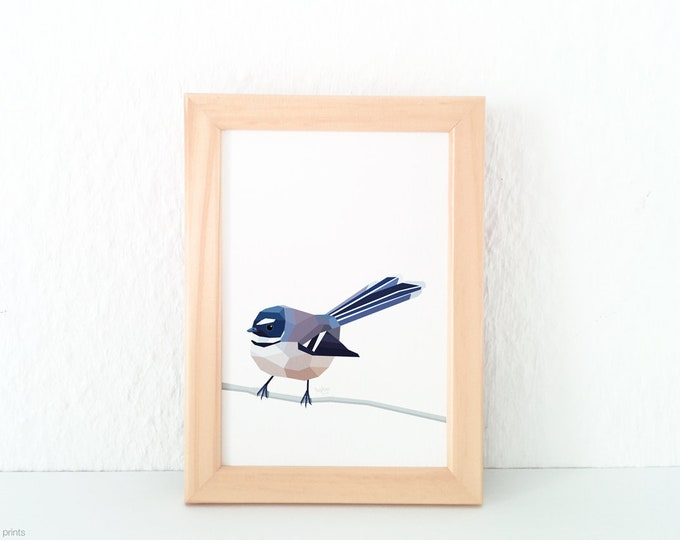 A3 ON SALE Fantail print, New Zealand fantail, New Zealand native birds, New Zealand artist, Kiwiana, Kiwi gift, Made in NZ, Kiwi home decor