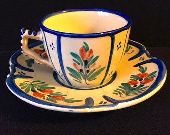 HB Quimper Cup and Saucer Cream Yellow Faience Rustic Folk Pottery