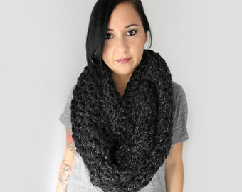 Scarf, Black Canyon Grey Haman Texture Infinity Scarf, Charcoal Grey Oversized Infinity Scarf  For Men or Women, Winter Accessories