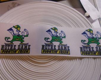 1 yard of 2 Inch Wide Notre Dame Fighting Irish Leprechaun grosgrain ribbon