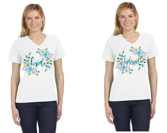Bride and Bridesmaids Floral Wreath Bachelorette Shirts on Your Shirt Style Choice
