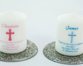 Personalised Godparent Thank You Candle - your own photo can be used if required