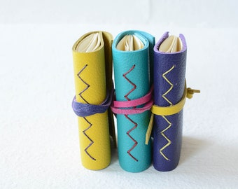 3 Mini Leather Journals with Free Shipping  // graduation gift // fathers day gift // teacher gift // Spring colors