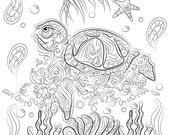 Sea turtle drawing  Insta...