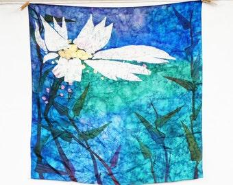 Vintage Handprinted Large Floral Silk Batik Scarf/Bohemian Chic/Boho/Hippie