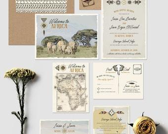 African Safari Destination Wedding Invitation Suite Kenya Rustic Zoo Illustrated invitation vintage map Elephants Giraffes - Deposit Payment