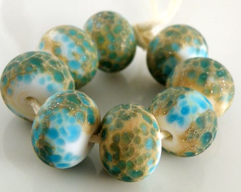 Siren's Call SRA Lampwork Handmade Artisan Glass Donut/Round Beads Made to Order Set of 8 8x12mm