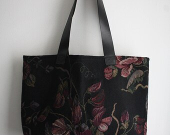 Tote bag, flowers, black leather