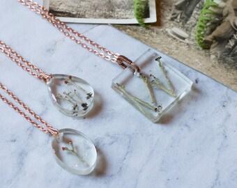 Lichen Resin Necklace