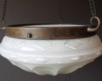 Vintage White Opaque Glass Ceiling Light Sahde