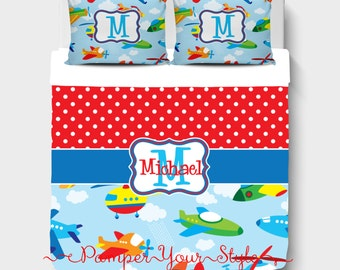 Boys Custom Bedding - Airplane Bedding - Helicopter Bedding Comforter or Duvet - Personalized Boys Bedroom