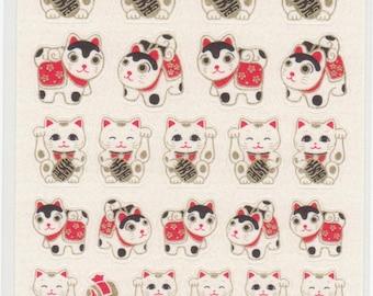 Japanese Lucky Cat Manekineko - Paper Stickers - Reference M6644-47