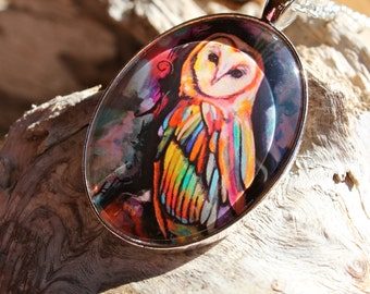 Mystic Owl Art Pendant - Wearable Art