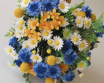 Wedding bouquet of peonies and berries Brunia, wedding, made of ClayCraft by Deco, flowers Chamomile, cornflower, caluga