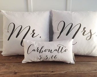 NEW FONT! Mr & Mrs name and date pillow cover set