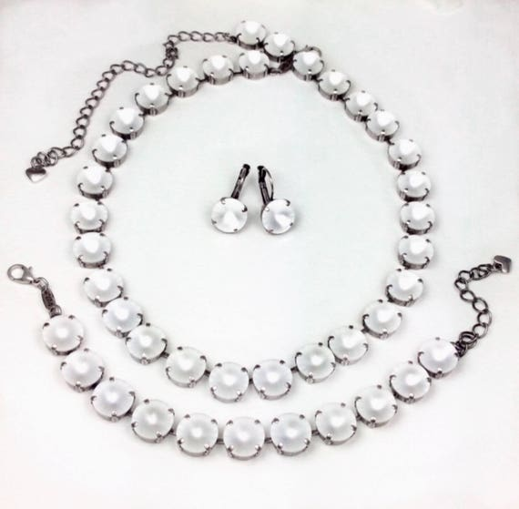 """Swarovski Crystal 12MM Necklace & Bracelet ONLY -  Designer Inspired - Glowing Crystal Matte Crystals - """"Moon Glow"""" - FREE SHIPPING"""