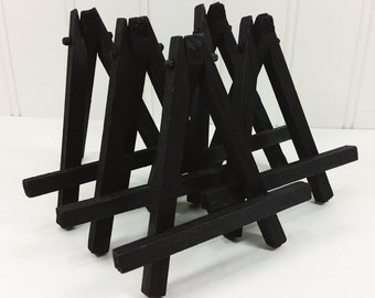 5 Small Black Wood Tabletop Easels for Miniature Art Place Cards Wedding Display
