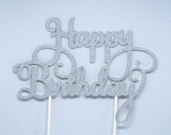 Sparkly silver happy birthday card cake topper decoration