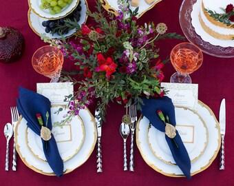 Navy blue napkins set of 6, blue linen napkins, wedding napkins, party napkins, dinner napkin cloths, Housewarming gifts, Summer table decor