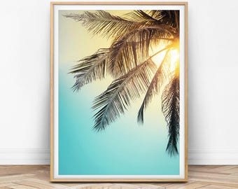 Palm Tree Print, Palm Tree Art, Palm Leaf, Tropical Decor, Tropical Art, Summer Print, Blue and Yellow, Sunset Print, Digital Download Photo