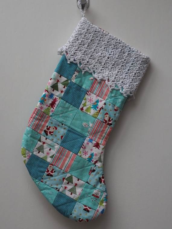 Patchwork Christmas Stocking with Sparkly Crochet Trim