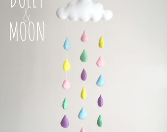 Cloud mobile nursery, cloud wall decoration, kids room cloud pastel rain drops nursery baby décor pastel nursery