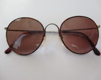 vintage wire rim eyeglass frames- tortoise shell, glasses, 1980s, Flexon, Marchon, Havana, round