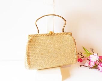 Gold Evening Bag, Vintage Gold Handbag, Marked MM, Vintage 1950's, Glimmer Bag, Gold Handbag EB-0237