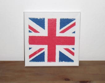 Painting on canvas - pattern travel flag England - support canvas 20x20cm