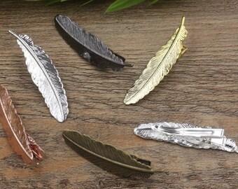 10-Messing-Alligator-Haar-Clips W / 12x52mm filigrane Feder Antik Bronze / Silber / Gold / Rose Gold / weiß Gold / Gun-Metall versilbert-Z7396