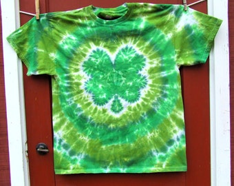 Shamrock  4Leaf Clover Tie Dye T-Shirt - Made To Order - Youth Sizes XS, Sm, Med, Lg