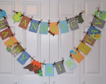 Dinosaur Happy Birthday Banner - Birthday Party - Add name and age option!