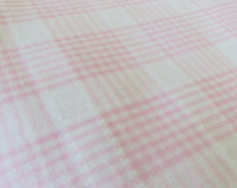 Pink Plaid Cotton Blend Fabric One Yard Lightweight Pastel Pink and White Plaid Summer Fabric Squares of Plaid Fabric