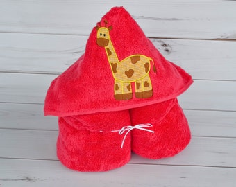 Towel - Hooded Towel - Baby Towel - Toddler Towel - Giraffe Towel - Baby Gift - Embroidered Towel - Kids Towel - Personalized Towel