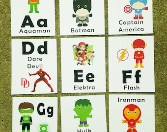 Superhero Alphabet Flash Cards, Learning Toys, Superhero Alphabet Cards, Preschool/Kindergarten Learning, Education Cards, Flash Cards