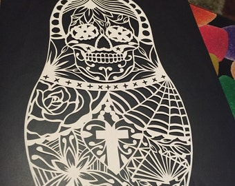 Sugar Skull Doll papercut template - personal and commercial use
