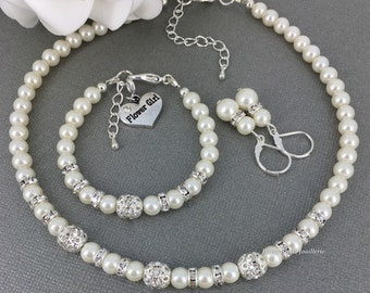 Flower Girl Jewelry Set Flower Girl Jewelry Flower Girls Gift Ivory Flower Girl Pearl Bracelet Pearl Jewelry for Flower Girl