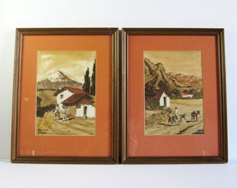 Set of 2 Mexican Landscape Paintings - Vintage Framed Art - Cruz Mexico Watercolor Painting - Southwest Wall Decor Spanish Architecture Art