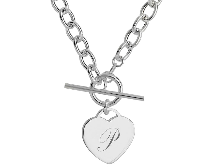 """Sterling Silver Heart Tag Charm T-Bar 17"""" Necklace - Personalised Engraved Initial"""