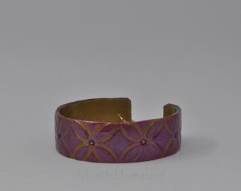 Purple Floral Cuff Bracelet - Polymer Clay Cuff - Small Cuff Bracelet - Tween Bracelet - Gift for Her - Child Size Cuff Bracelet