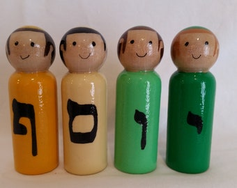 Hebrew alef beis bet, Jewish letter name , waldorf inspired,  upshernish, personalized, custom, party present, wood people peg doll set