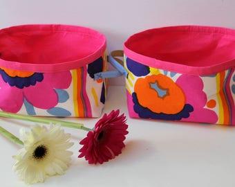 Marimekko Fabric Baskets, Floral Storage Bins, Set of 2.