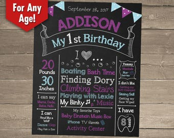 First Birthday Chalkboard Sign, 1st Birthday Chalkboard Sign, Birthday Photo Backdrop, 1st Birthday Centerpiece, First Birthday Centerpiece