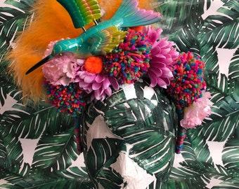 Multicoloured hummingbird & Pom Pom headband
