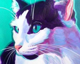 Cat, Pet Portrait, DawgArt, Cat Art, Pet Portrait Artist, Colorful Pet Portrait, Pet Portrait Painting, Art Prints, Kitty Art