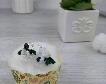 White curly chrysanthemum earrings - delicate flower earrings