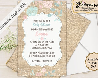 Custom Made Gender Neutral Baby Shower Invitation/ Custom Burlap Rustic Baby Shower Invitation/ Burlap Baby Shower Invite/Rustic Baby Shower